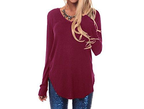 Xuan2Xuan3 Womens Cotton Knitted Long Sleeve Tunic Sweatshirt Tops T Shirt Blouses