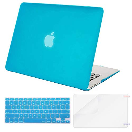 MOSISO Plastic Hard Case & Keyboard Cover & Screen Protector Only Compatible MacBook Air 13 Inch (Models: A1369 & A1466, Older Version Release 2010-2017), Aqua Blue (Piece 5 Back Slat)