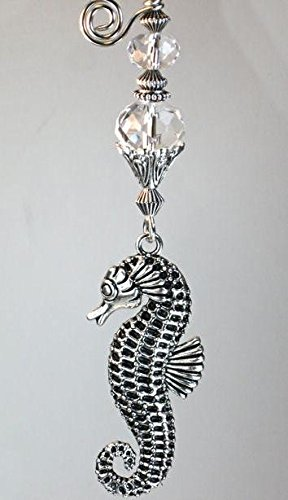 Glass Light Pull - Silvery Raised Seahorse with Crystal Clear Faceted Glass Ceiling Fan Pull / Light Pull Chain