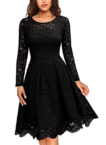 MISSMAY Women's Vintage Floral Lace Scoop Neck Cocktail Formal Swing - Women Clothes Party For