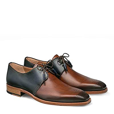 Mezlan Montes - Mens Luxury Lace-Up Dress Shoes - Classic 2-Eyelet Plain Toe Blucher with Two-Toned Hand-Burnished Italian Calfskin Leather - Handcrafted in Spain - Medium Width (Cognac/Blue, 10) | Loafers & Slip-Ons