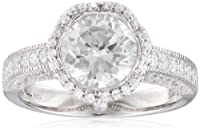 Sterling Silver Simulated Diamond Round 8mm Solitaire Bridal Ring, Size 7 by PAJ, Inc