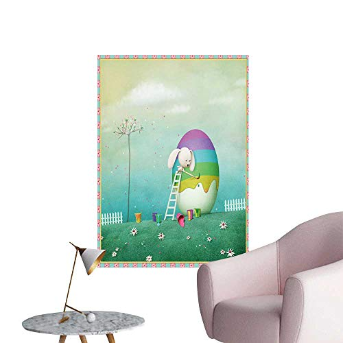 SeptSonne Wall Decoration Wall Stickers Art Easter Backgroun Fence, Eggs, SPR Flowers Print Artwork,32
