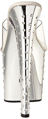 Pleaser Stardust-751 - Sandalias Mujer Silber (Silber (Clr/Slv Chrome))