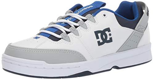 DC Men's Syntax Skate Shoe, White/Grey/Blue, 12 M US