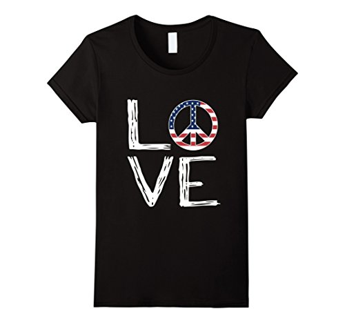 Womens Fourth of July Love Peace Sign Flag T Shirt XL Black