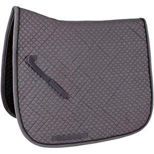 Rider's International by Dover Saddlery Contoured Diamond Quilt Dressage pad - Grey with Black Piping, Dress