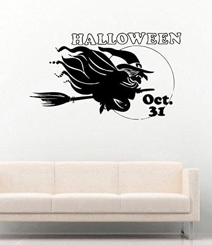 Halloween Vinyl Wall Decals Witch on Broom 31 oct Halloween Decor Stickers Vinyl Mural -