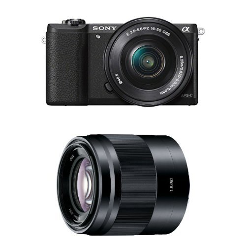 Sony Alpha a5100 Interchangeable Lens Camera with 16-50mm and 50mm Lenses (Black)