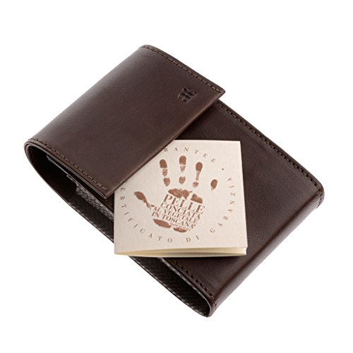 with Leather Holder Case Chestnut Slots Wallet Italian Card 11 Real in Credit Business Antica ID Toscana Card vzngBUx