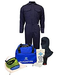 National Safety Apparel KIT2CV11BXL08 ArcGuard Ultrasoft Arc Flash Kit with Coverall and Balaclava, 12 Calorie, X-Large, Size 8, Navy