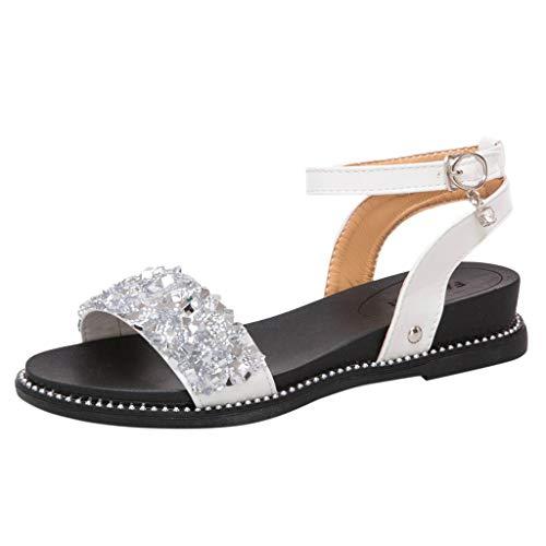 JJLIKER Women Crystal Low Heel Wedges Open Toe Sandals Summer Comfortable Beach Flats Buckle Ankle Strap Shoes White