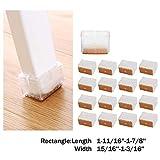 Chair Leg Caps, Mocofo Chair Leg Wood Floor Protectors with Felt Pads,Anti-Slip Silicone Furniture Leg Feet,Chair Feet Glides 16 Pack (Rectangular L:1-11/16''-1-7/8'' W:15/16''-1-3/16'')