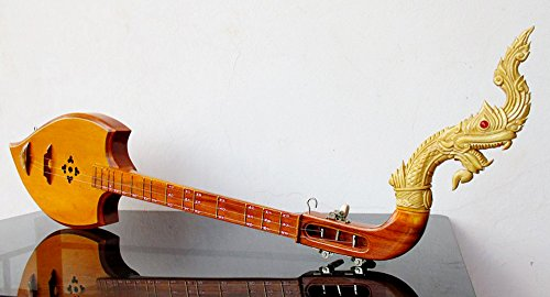 Isarn Acoustic Phin 3 Strings, Thai Lao Guitar Musical Instrument, Jackfruit Wood Traditional Thai Musical Pin 01