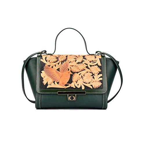 Femme Green Mode Relief Rétro Style AJLBT à Fleur Ethnique Sac Style Chinois Main Sac En qHgaqI6wn5
