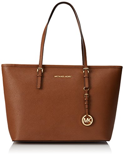 Michael Kors Jet Set Travel Large Saffiano Leather Top-Zip Tote, Bolso Totes para Mujer, 45 cm Beige (Luggage)
