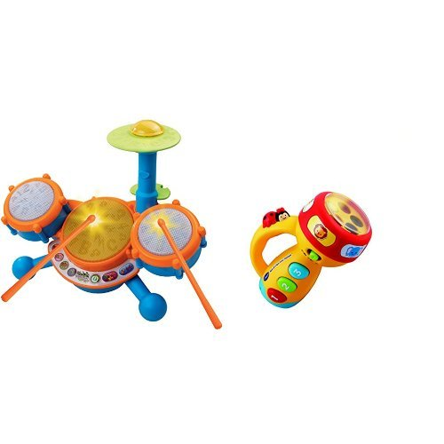 Vtech Kidibeats Kids Drum Set And Vtech Spin And Learn Color Flashlight Bundle