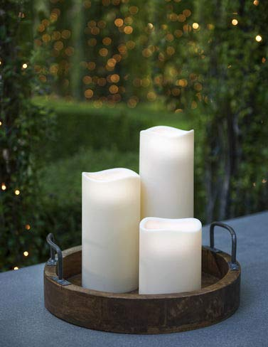(Everlasting Glow LED Indoor/Outdoor Candle, Timer, Bisque, 4.5
