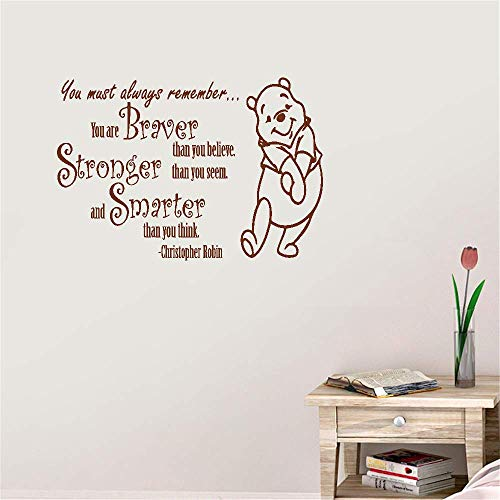 Wall Stickers Art DIY Removable Mural Room Decor Mural Vinyl You Must Always Remember You are Braver Stronger Than You Believe Than You Seem for Living Room Bedroom Nursery Kids Bedroom -