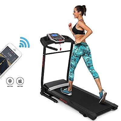 ANCHEER Folding Treadmill with Smartphone APP Control, Bluetooth, Top Speed 12 KM/H, 12 Pre-Set Training Programs - Effective Space Saving Folding Design