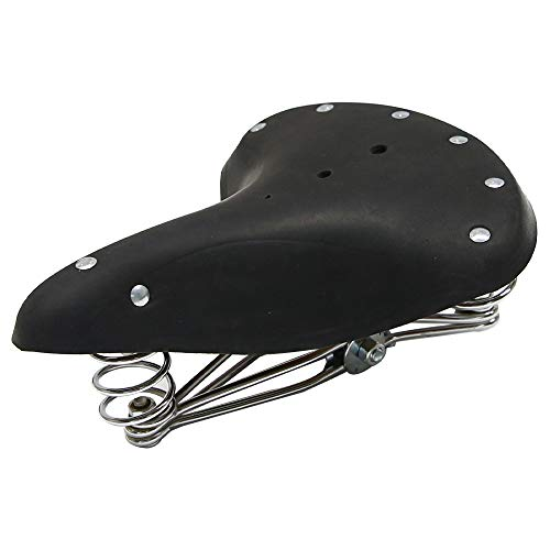 (UNISTRENGH Bike Saddles, Vintage Classic Style Comfort Genuine Leather Bicycle Seat with 3 Springs (Black))