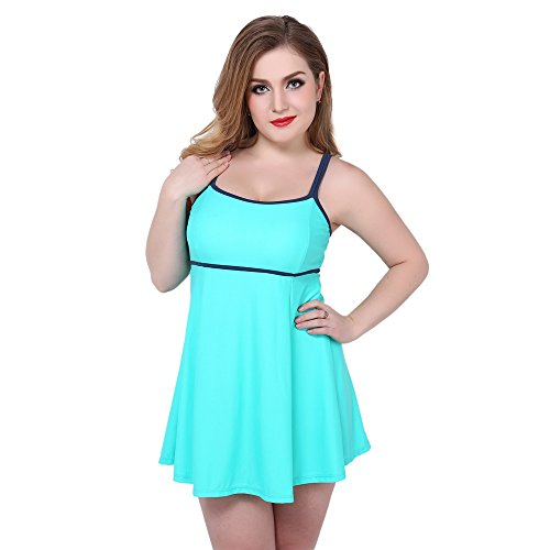 Topwigy Women's Plus Size One Piece Bathing Suits Halter Light Green Plus Size Swimsuits with Shorts Swimwear Beachwear Cover - Swimwear Destination
