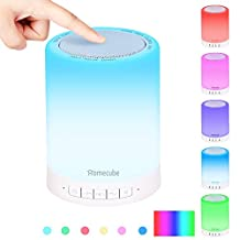 Portable Bluetooth Speakers, Homecube Wireless BT Speakers with Smart LED Lamp Touch Control Color Night Light Bedside Lamp with TF Card ,MP3 Player, AUX Supported, Hands-free