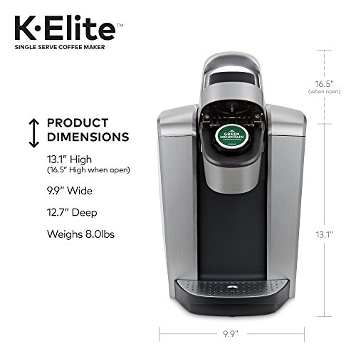Keurig K-Elite K Single Serve K-Cup Pod Maker, with Strong Temperature Control, Iced Coffee Capability, 12oz Brew Size, Programmable, Brushed Silver by Keurig (Image #7)