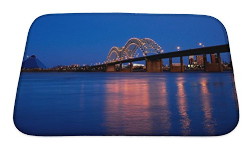 Micro Bridge Engineering (Gear New Bath Rug Mat No Slip Skid Microfiber Soft Plush Absorbent Memory Foam, Memphis Bridge Over Mississippi River, 24x17)