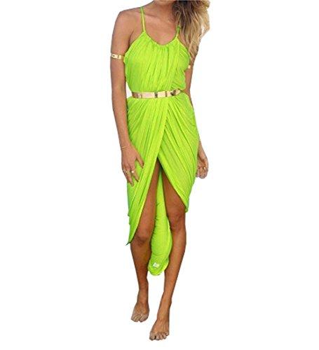 Sexy Women Bandage Halter Skirt Dress Sleeveless Beach Nightclub Party Cocktai (L, Yellow)