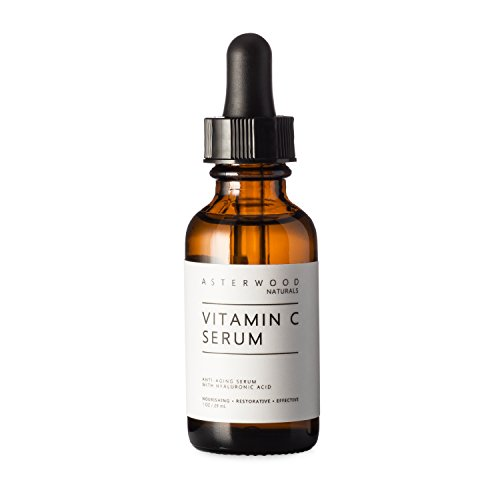 Vitamin C 1 oz Serum with Organic Hyaluronic Acid - Lighten Sun Spots, Anti Aging, Anti Wrinkle - Light and Oxygen Stable MAP Vitamin C - ASTERWOOD NATURALS - Classic Formula Bottle