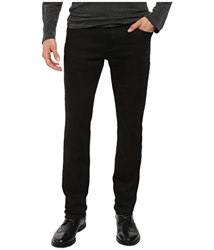 John Varvatos Men's Bowery Fit Jean, V Stitch Pocket Zip Fly, Low Rise, Slim Straight Leg in Black, 32