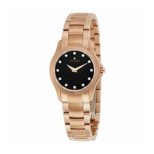 Movado Masion Black Dial Diamond Ladies Watch 0607076