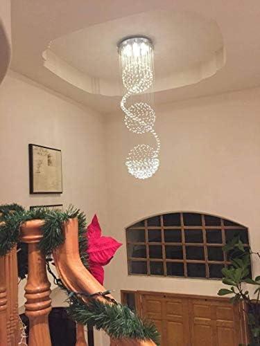 Luxus Spiral Sphere Kristall Kronleuchter, Spektakuläre Droplet LED Deckenleuchte, Unterputz Pendelleuchte für Wohnzimmer Hotel Eingangsbereich Flur Foyer Romantisches Dekor, Größe: D50cm H180cm