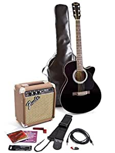 Fender FA-130 Acoustic-Electric Guitar Pack, Black