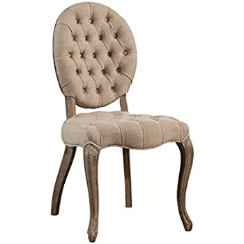 Abbyson Kinsley HS DC 521 Wht, Vintage Linen Tufted Dining Chair, Wheat