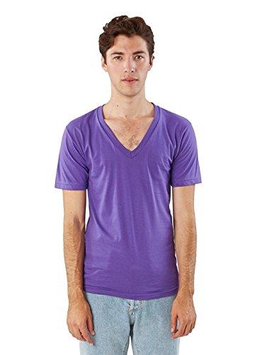 American Apparel Unisex Fine Jersey Short-Sleeve V-Neck (2456) - Purple - Large