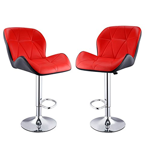 Leoneva Barstools Set of 2 Modern Adjustable Faux Leather Swivel Barstools Hydraulic Bar Stools Pub Chairs with Metal Foot Rest, Red (US Stock) (For And Stool Sale Sets Bar)