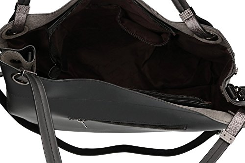 Borsa donna a spalla con tracolla PIERRE CARDIN nero con apertura zip VN1899