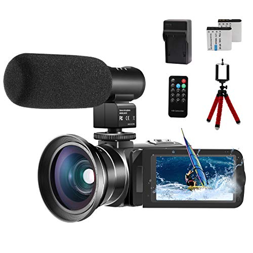 "Video Camera 1080P Camcorder CofunKool Vlogging Camera for YouTube, 24.0MP 3.0"" IPS Screen IR Night Vision, with Microphone Wide Angle Lens Remote Control Battery Charger Mini Tripod, 2 Batteries"
