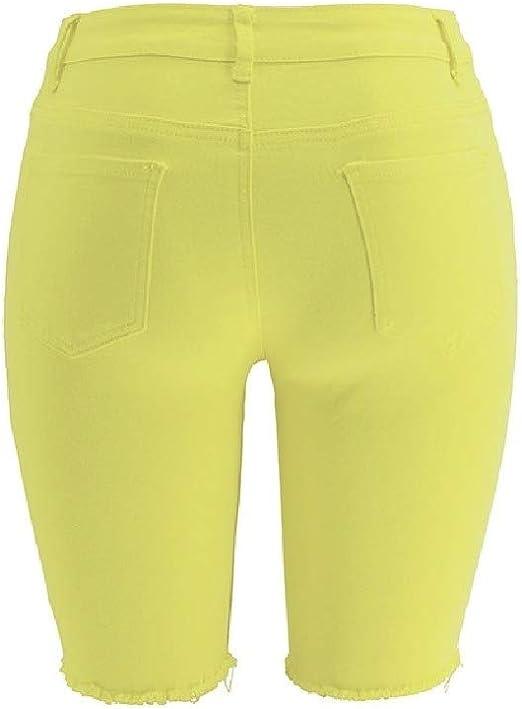 VITryst Women's Flexible Skinny 1/2 Length Ripped-Holes Mid Waist Jeans Pants