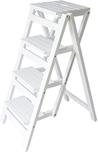 Silla plegable multifunción para el hogar de madera maciza Taburete con escalera de 4 escalones Escalera de escalada portátil para interiores Herramientas de jardín Carga máxima 150 kg (Color: blanco): Amazon.es: Hogar