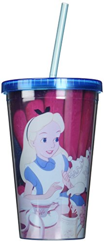 Silver Buffalo AW88087 Disney Alice in Wonderland Tea Time Plastic Cold Cup with Lid and Straw, 16-Ounces by Marvel