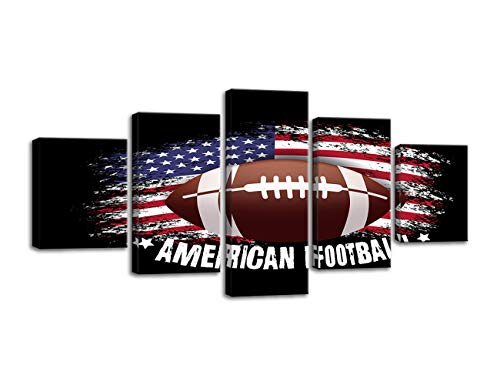 Vintage American Football American Flag Pictures Canvas Wall Art Thin Red Blue Line Stars Stripes Prints Wall Decor 5 Panels Modern Home Painting Posters Artwork for Living Room Framed Ready to Hang
