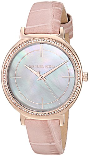 Watch Leather Pink (Michael Kors Women's Cinthia Pink Watch MK2663)