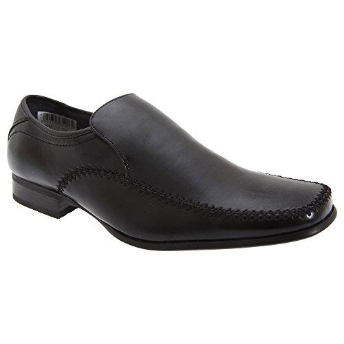Goor - Zapatos formales lisos de piel sin cordones Modelo Gusset Tab Loafer Hombre Caballero - Vestir / Trabajo Negro