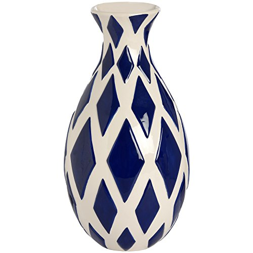 Hill Interiors Diamond Pattern Vase (One Size) (Navy/White)