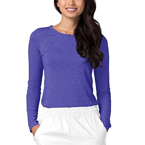 Adar Womens Comfort Long Sleeve T-Shirt Underscrub Tee - 2900 - Heather Royal Blue - XL