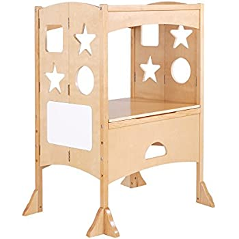 Guidecraft Double Kitchen Helper - Natural Adjustable Height For Kids