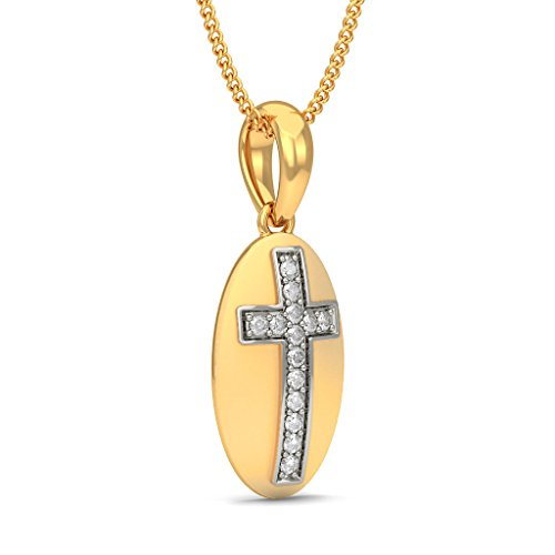 Or jaune 18 K 0,14 CT TW Round-cut-diamond (IJ | SI) Pendentif
